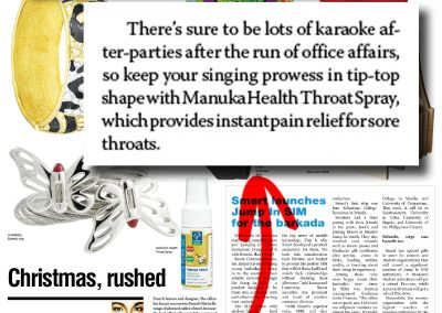 Holiday rush. Business Mirror writes about Manuka Health's Throat Spray